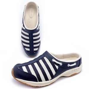 Easy Spirit Navy Nautical Striped Mules Clogs